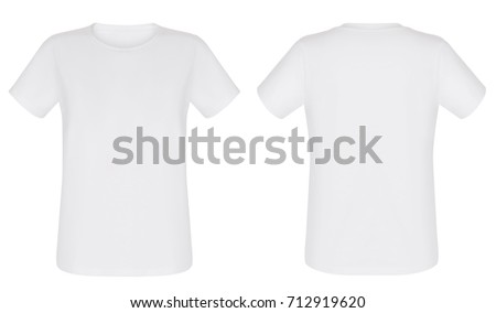 Front and back views of white t-shirt on white background #712919620