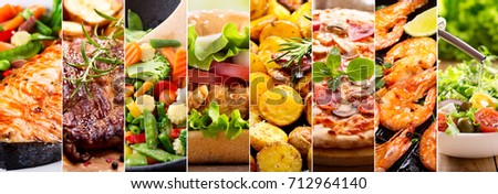 collage of various food products Royalty-Free Stock Photo #712964140
