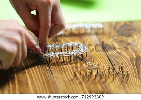 String And Nails Art Lettering (Nice Handmade Gift Idea)  #712993309