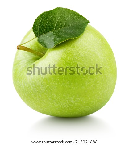 One ripe green apple fruit with green leaf isolated on white background. Granny smith apple with clipping path #713021686
