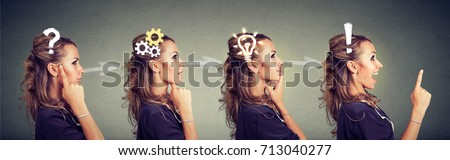 Emotional intelligence. Side view sequence of a woman thoughtful, thinking, finding solution with gear mechanism, question, exclamation, lightbulb symbols. Human face expression #713040277