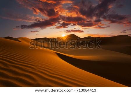Beautiful sand dunes in the Sahara desert. #713084413