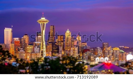 Seattle city skyline at dusk. Downtown Seattle cityscape at night