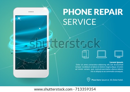 Phone repair service banner template. Smartphone with broken screen on blue background. Repairing electronics. Advertising concept. Vector eps 10.