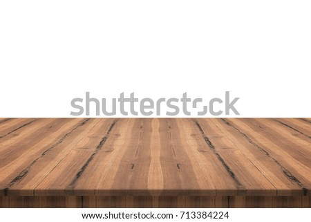 Empty teak wood table top on white background,space montage you product #713384224