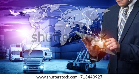 Businessman is pressing button on touch screen interface in front Logistics Industrial Container Cargo freight ship for Concept of fast or instant shipping, Online goods orders worldwide #713440927