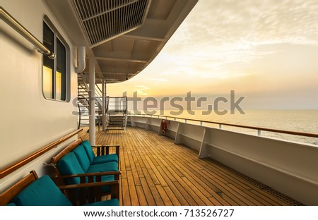 Luxury cruise ship deck at sunset. #713526727