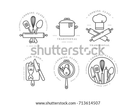 Cooking class linear design elements, set of kitchen emblems, symbols, icons or food studio labels and badges collection. Cooking courses signs template or logo, identity, culinary school. Royalty-Free Stock Photo #713614507