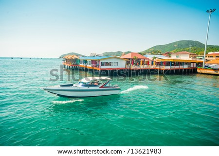 Speed boat in si-chang island. #713621983