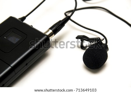 Professional Wireless Microphone or Lavalier on white background.
