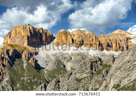 Sella-Pordoi Group Mountains,Dolomites Alps, Italy                          #713676451
