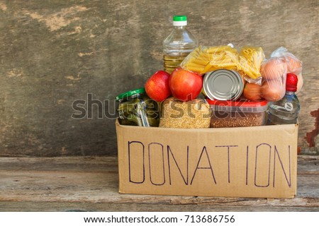 Donation box with food.  #713686756