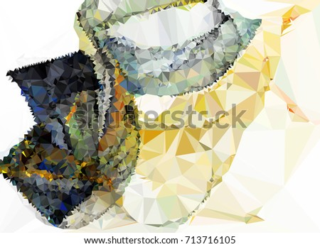 Geometric low polygonal background. Abstract mosaic backdrop. Design element for book covers, presentations layouts, title backgrounds. Raster clip art. #713716105