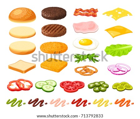 Set of ingredients for burger and sandwich . Sliced veggies, bun, cutlet, sauce. Vector illustration cartoon flat icon collection isolated on white. Royalty-Free Stock Photo #713792833