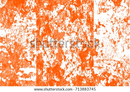 Abstract grunge orange dark stucco wall background. Splash of orange, black, white paint. Art rough stylized texture banner, wallpaper. Backdrop with spots, cracks, dots #713883745