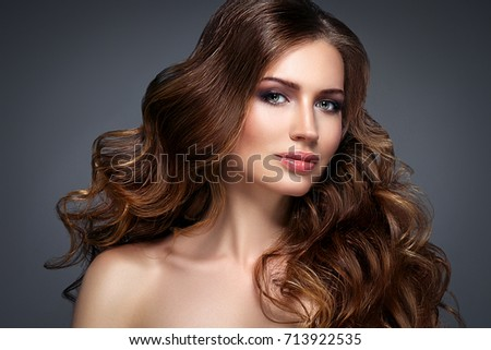 Beautiful woman face with beautiful hair portrait. #713922535