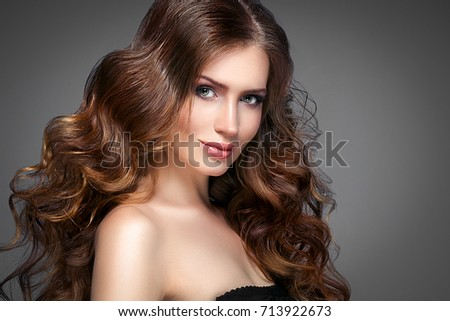 Beautiful woman face with beautiful hair portrait. #713922673