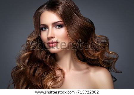 Beautiful woman face with beautiful hair portrait. #713922802