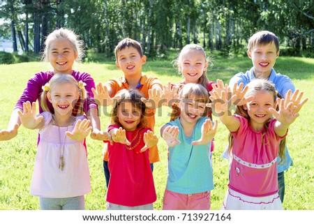 Kids outside in park #713927164