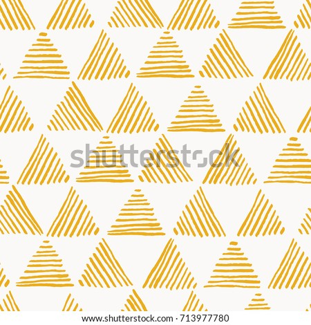 Seamless hand drawn geometric pattern with yellow striped triangles Royalty-Free Stock Photo #713977780