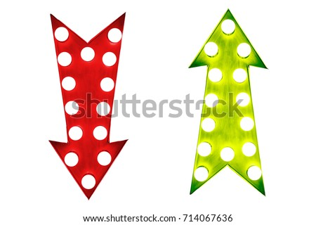 Pros and cons: red down and green up vintage retro arrows illuminated with light bulbs.  Concept image for advantages and disadvantages. Cut out isolated on white background. #714067636