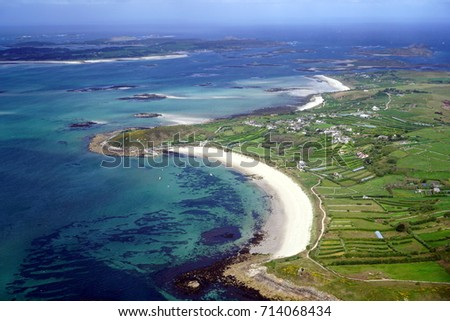 An aerial view of the island of St Martins, Isles of Scilly, UK #714068434
