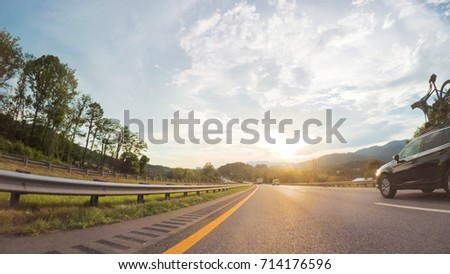 POV point of view - Driving West on Interstate Highway 40 through Appalachian Mountains. #714176596