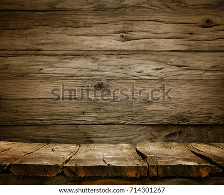Wood background - table with wooden wall. Wooden table background. Empty display #714301267
