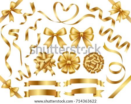 A set of various gold vector ribbons. Royalty-Free Stock Photo #714363622