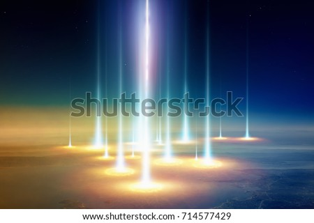 Sci-fi background - planet Earth is attacked by extraterrestrial spacecraft, UFO shoots powerful beam weapon. #714577429