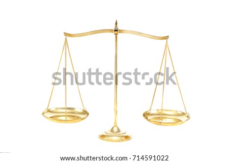 Golden brass balance scale isolated on white background. Weight balance, Symbol of law justice.