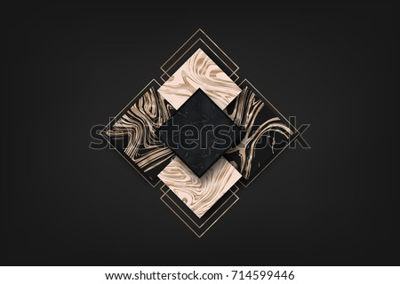 Luxury abstract background geometric shapes. Liquid rose gold. Vector Marbling pattern. #714599446