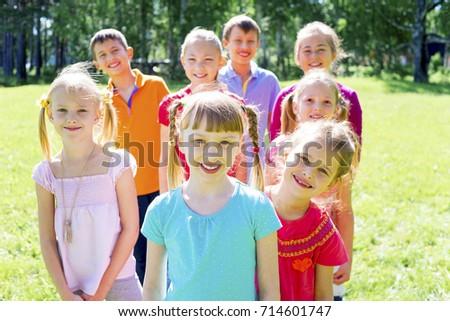 Kids outside in park #714601747
