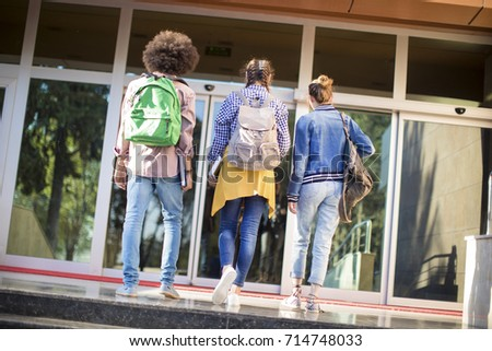 Young students on campus #714748033