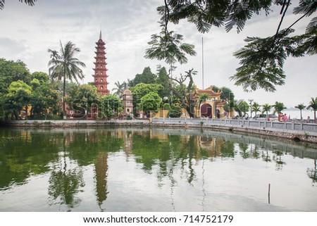 pagoda of Tran Quoc temple in Hanoi, Vietnam #714752179
