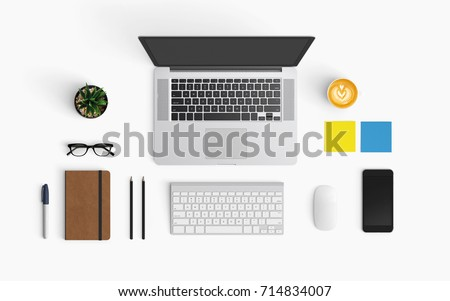 Modern workspace with coffee cup, smartphone, paper, notebook, tablet and laptop copy space on white color background. Top view. Flat lay style. Royalty-Free Stock Photo #714834007