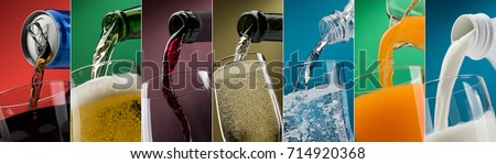 Pouring drinks into glasses photo collection: soft drink can, beer, wine, water, orange juice and milk Royalty-Free Stock Photo #714920368