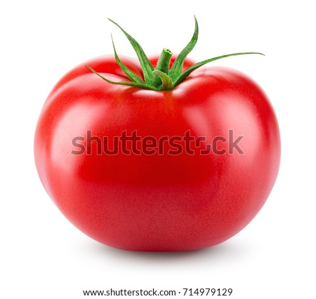Tomato isolated. Fresh tomato. With clipping path. Full depth of field. Royalty-Free Stock Photo #714979129