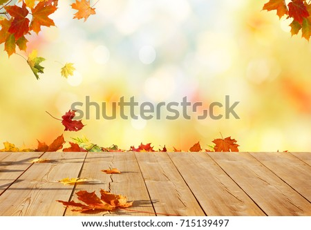 Autumn maple leaves on wooden  table.Falling leaves natural background. #715139497