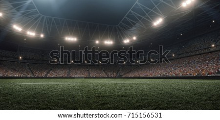 Dramatic soccer stadium in 3D. Professional arena are full of fans. Royalty-Free Stock Photo #715156531
