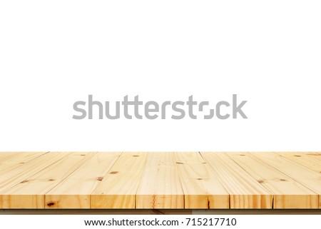 Wood Shelf Table isolated on white background #715217710