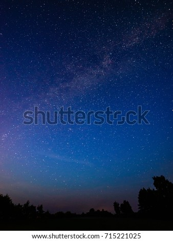 colorful milky way galaxy seen in night sky over dark trees on the horizon #715221025