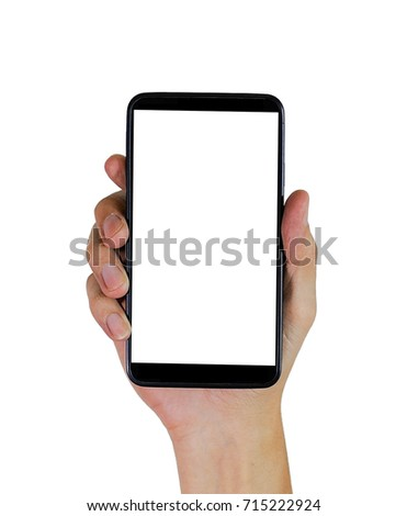 black smart phone in the right hand, technology in handful, phone in hand on a white background #715222924