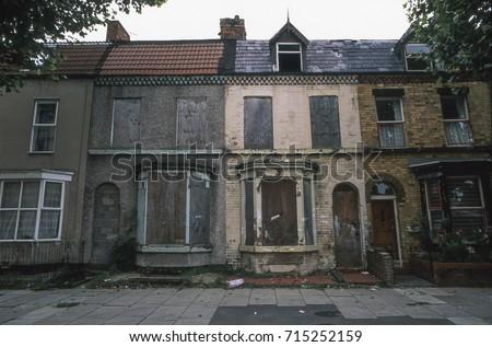 Derelict houses awaiting redevelopment, Merseyside, UK, 1994 Royalty-Free Stock Photo #715252159