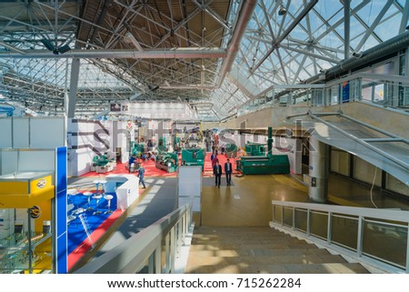"""MOSCOW, RUSSIA, Expocentre - MAY 15-19, 2017: 18th international specialized exhibition """"Equipment, instruments and tools for Metalworking industry"""". General view of the business mission. #715262284"""