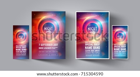 Night Club Party Flyer or Poster Layout Template. Musical electro concert in the style of house,dubstep,techno,minimal,trance,Drum and Bass or Indie rock.Background of electric discharge.