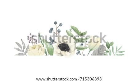 Watercolor Winter Flower Frame Grey Wreath Border