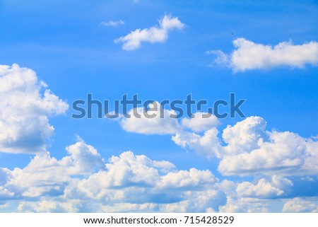 blue sky bright and big cloud beautiful summer. art of nature with copy space for add text #715428529