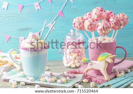 Unicorn hot chocolate and cookies for party #715520464