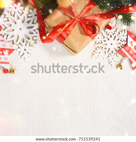 Christmas background with branch and ornaments #715539241